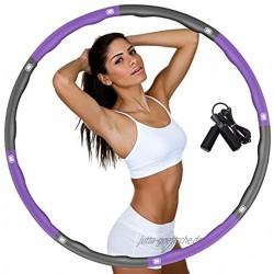 DUTISON Hula Hoop Reifen für Erwachsene Fitness Hoola Hoop zur Gewichtsreduktion Größe Einstellbar Breit 48–95 cm beschwerter Hullahub Reifen mit Springseil