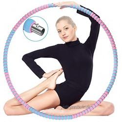 ikotayou Hoola Hoop Reifen Erwachsene Hula Reifen Hoop für Erwachsene Anfänger zur Gewichtsreduktion und Massage 8 Segmente Abnehmbarer Hoop Reifen mit Stabiler Edelstahlkern für Fitness Sport-1.2KG
