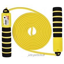 Linkbro Springseil Speed Rope Zähler Und Komfortablen & Anti-Rutsch Griffen Licht Springseile Für Workout Crossfit Boxen Training Und Fitness Gelb & Schwarz