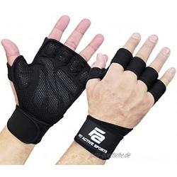 Gewichtheberhandschuhe mit integrierten Handgelenkbandagen vollständiger Handflächenschutz und extra Griffigkeit. Ideal für Klimmzüge Cross-Training Fitness WODs & Gewichtheben Geeignet für Männer und Frauen