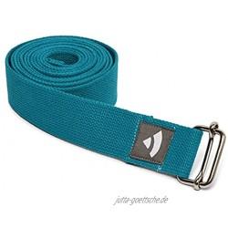 Bodhi Yogagurt | ASANA Belt aus 100% Baumwolle | Praktisches Yoga-Zubehör zur Dehnung | Yoga-Gurt mit Schiebeschnalle aus Metall | Anfänger & Fortgeschrittene | 250 x 3,8 cm petrol