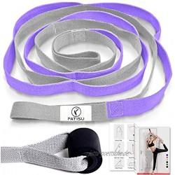 Yoga Gurt + Türanker 12 Schlaufen Yoga Stretch-Gurte Set Beindehner nicht elastisch Dehnungsband Band für Physiotherapie Yoga Tanz Pilates mit Übungsanleitung lila